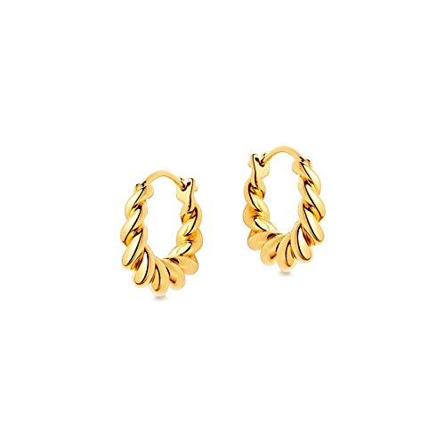 Home CNLXDSB Earring Spiral Hoop Earrings for Women Jewelry Small Huggie Earrings 925 Sterling Silver Geometric Ear Hoop 925 for Women Girls (Gem Color : Gold)