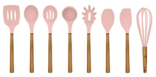 Country Kitchen Silicone Cooking Utensils, 8 Pc Kitchen Utensil Set, Easy to Clean Wooden Kitchen Utensils, Cooking Utensils for Nonstick Cookware, Kitchen Gadgets and Spatula Set - Pink
