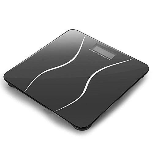 PYROJEWEL Balanza báscula de baño, hogar Escala electrónica Inteligente, Vidrio Cuerpo Balanza Salud, 180Kg, Negro