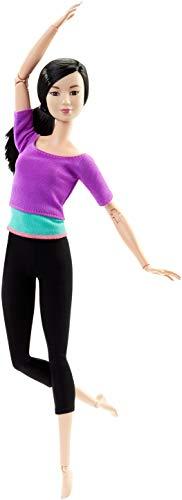 Barbie DHL84 Barbie Made to Move Puppe mit lila Top, bewegliche und sportliche Modepuppe mit 22 Gelenken, ab 3 Jahren