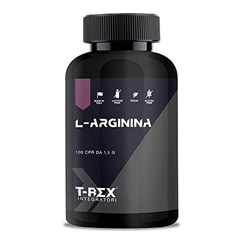 T-Rex Integratori, L-Arginina 1000mg. 100 compresse Integratore a base di Arginina HCL. Energia e crescita muscolare.