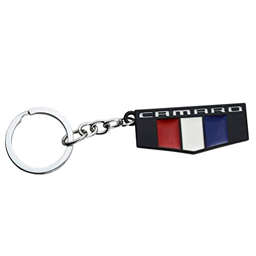 Funstickers 1Pc Keyring Camaro M Cab Logo Nameplate Keychain Key Fob Compatible for Chevy Camaro Series (Black)
