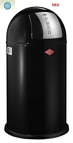 PUSHBOY EDELSTAHL mit Deckel in schwarz Kunststoff Abfallsammler 50 Liter Mülleimer Klassiker WESCO