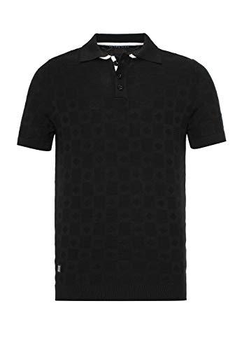 T-Shirt Poloshirt Herren Kurzarm Strick Cross Line Schwarz L