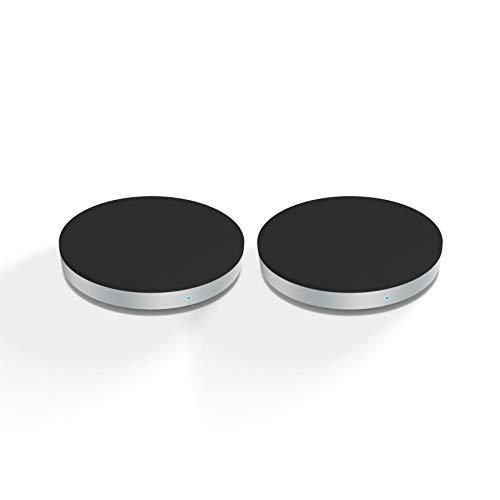 ZENS Qi-zertifiziertes kabelloses Ladegerät Rund 5W Ausgangsleistung Schwarz - ZWEIERPACK- Zwei USB Kabel inklusive - Funktioniert mit allen Handys mit kabellosem Laden