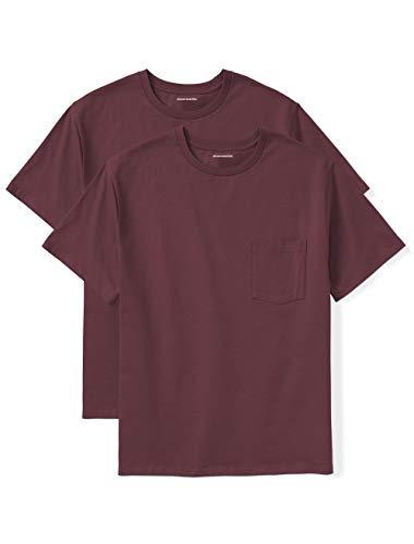 Amazon Essentials Men's Big & Tall 2-Pack Short-Sleeve Crewneck T-Shirt w/ Pocket fit by DXL, Burgundy, 5X