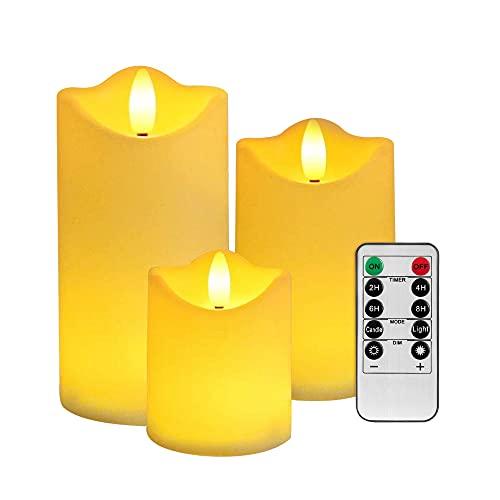 Nasjac Velas LED Sin llama, Impermeables Velas Eléctricas con Control Remoto de 10 Teclas, Luces Led Iluminación de Ambiente de Interiores y Exteriores, Efecto Llama Decoraciones...