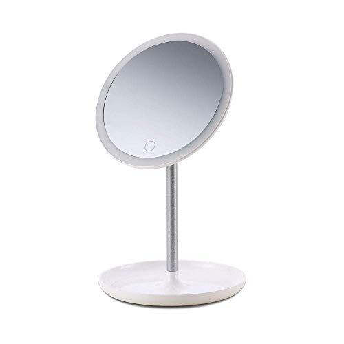 Chenbz Tablero de la mesa de maquillaje Espejo, Espejo de baño con luz LED espejo del punto de rotación de la pantalla táctil del espejo cosmético de afeitar Maquillaje Y Cuidado facial, Rosa