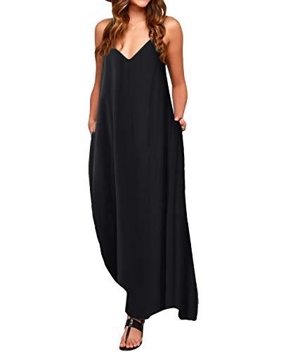 ACHIOOWA Robe Longue Femme Robe Femme ete Robe Longue Boheme Chic Robe de Plage d'été Robe Longue Fluide Grand Taille Casual Noir L