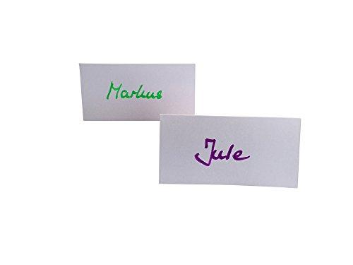 Tischkarten blanko, 100 Stück, als Platzkarten, Namenskarten, Tischreservierung, Hochzeit, als Hinweisschildchen, hochwertiger 250 g/m² Karton