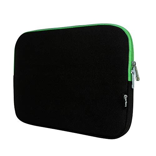 Emartbuy Black/Green 12.5-14 Inch Water Resistant Neoprene Soft Zip Case Cover Sleeve With Green Interior & Zip for Acer Chromebook R13 CB5-312T 13 3 Inch Covertible (12.5-14 Inch Notebook)