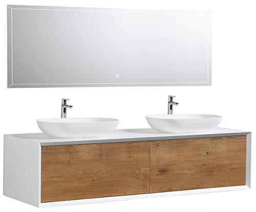 Badmöbel Fiona 1600 Weiß matt - Front in Eiche-Optik - Spiegel:Ohne Spiegel, Zusätzl. Blende für Ablaufgarnitur:ohne zusätzl. Blende, Auswahl Waschbecken:Ohne Waschbecken
