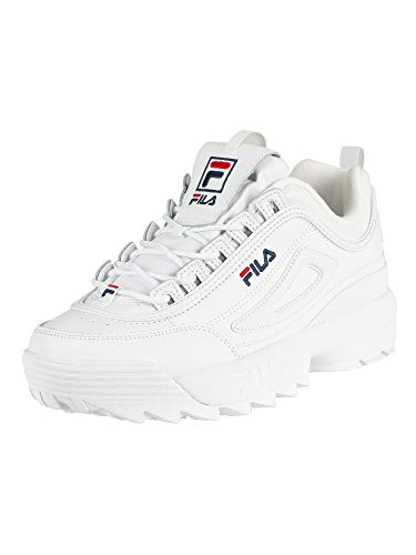 Fila womens Fila Women's Disruptor Ii Premium Sneaker, White/Navy/Red, 5 US