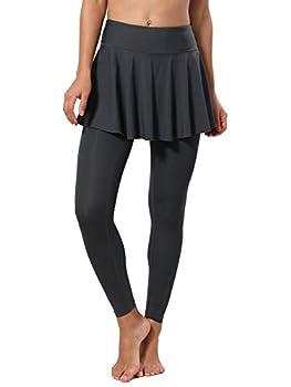 CQC Women s Tennis Skirt Leggings Athletic Sports Skorts Gym Running Golf Workout Bottoms with Pockets Dark Gray M