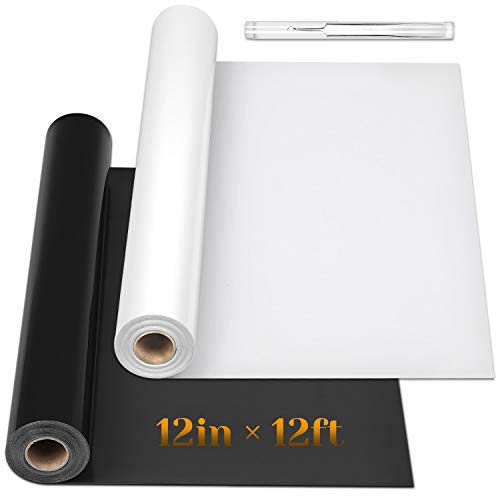 HTV Heat Transfer Vinyl Bundle, Flasoo 2 Rolls Black and White HTV Iron on Vinyl...
