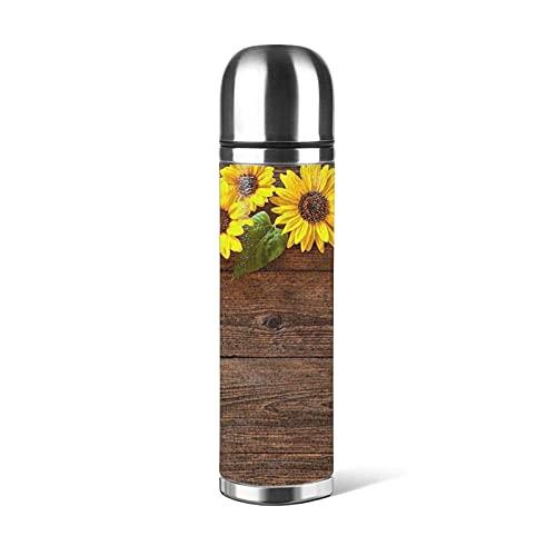 Tablero de madera Flor de girasol Impreso Botella de agua de acero inoxidable, Taza termo Taza de vacío Frasco termo Taza de café Tazas de viaje 500 ML