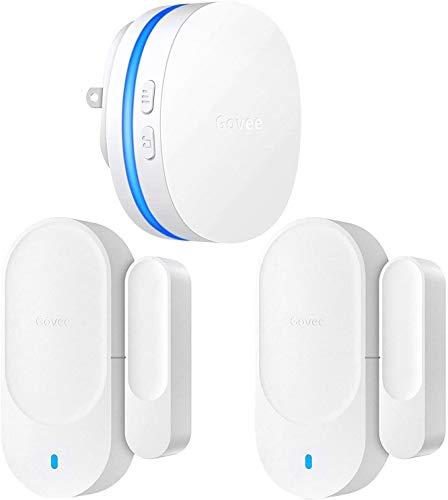 Govee Door Open Chime Upgraded, 2 Magnetic Door Alarm Sensor for Home/Bussiness, Door Alarms for Kids Safety, 1 Wireless Receiver (328 Feet, 36 Tunes, 5 Volume Levels, LED Indicators)