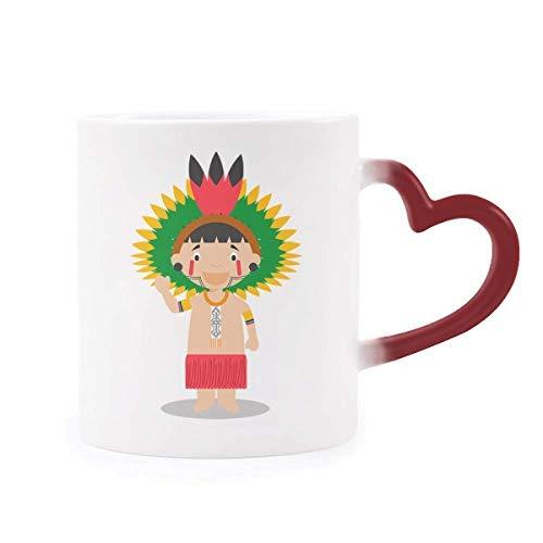 DIYthinker Red amazónica de Brasil Venezuela Morphing de la Historieta de Calor de la Taza Copa Sensible corazón Rojo