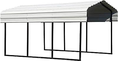Arrow CPH101507 Steel 10 x 15 x 7 ft. Galvanized Black/Eggshell Carport and Accessories, 10' x 15' x 7