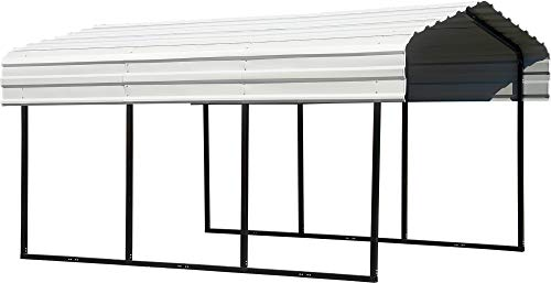Arrow Shed 10' x 15' x 7' 29-Gauge Carport with Galvanized Steel Roof Panels, 10' x 15' x 7', Eggshell