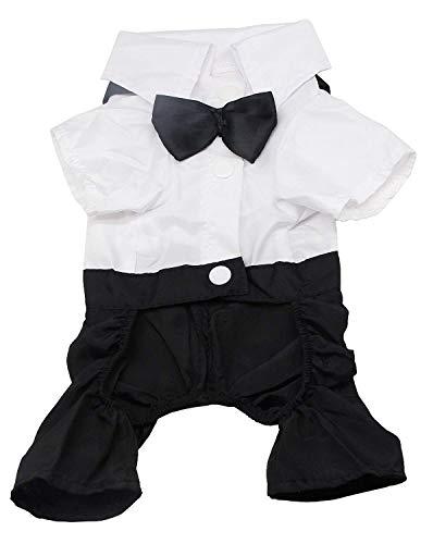 QiCheng & LYS Ropa para Perros Traje Elegante con Estilo de Corbata de moño, Camisa de Esmoquin Formal con Traje...