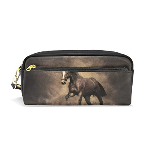 Estuche para lápices con cremallera grande bolsa de maquillaje caballo sombra lápiz bolsa caja para niños y niñas suministros escolares