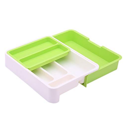 Gesh Organizador de cajones de cocina de plástico, bandeja de cubiertos para cajones, divisor de utensilios duraderos, multipartición, seguro fácil de limpiar