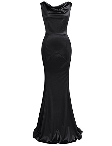 MUXXN Women s 30s Brief Elegant Mermaid Evening Dress (S  Black)
