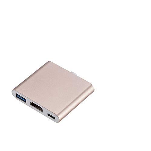HOUHOU Adaptador HDMI USB HUB For C 3 C Hub USB Tipo A HDMI 4K Puerto USB USB Power Delivery C Eje del USB C (Color : Golden)