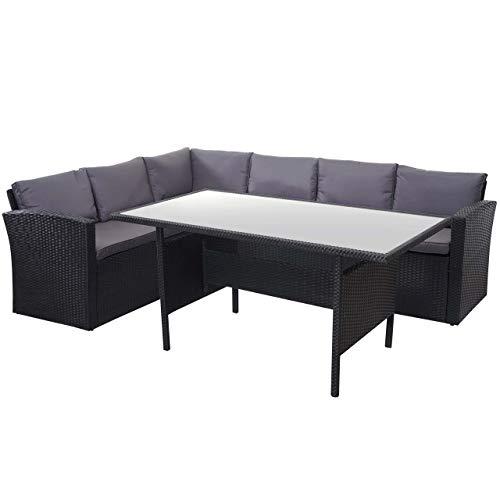 Mendler Poly-Rattan-Garnitur HWC-A29, Gartengarnitur Sitzgruppe Lounge-Esstisch-Set, schwarz - Kissen dunkelgrau