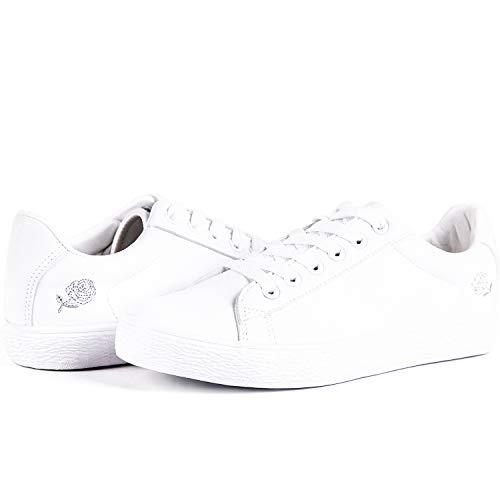 HotRoad Women Fashion Sneakers Zapatillas Blancas para Mujer Casual Deportiva para Caminar Liquidación Low Top Ladies Zapatillas Tenis, Rosa Bordado / 39 EU