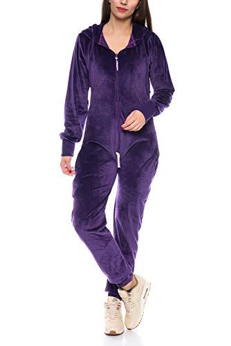 Crazy Age Damen Jumpsuit aus Samt (Nicki, Velvet) Wohlfühlen mit Style. Elegant, Kuschelig, Weich. Overall, Ganzkörperanzug, Jogging - Freizeit Anzug, Onesie (Lila, S)