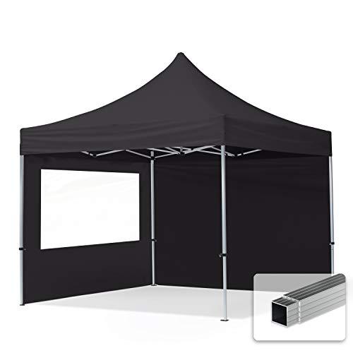TOOLPORT Faltpavillon Faltzelt 3x3m - 2 Seitenteile 32mm ALU Pavillon Partyzelt PES300 100% WASSERDICHT schwarz