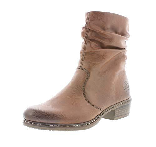 Rieker Damen Stiefel, Frauen Klassische Stiefel, reißverschluss weiblich Ladies feminin elegant Women's Freizeit Boots,Brandy,40 EU / 6.5 UK