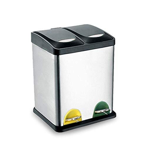 Bote de Basura Cubo de la Basura del Aire Libre del Barril Doble 16L-45L del Cubo de Basura de la clasificación del Acero Inoxidable Bote de Basura Humano Simple (Size : 16L)