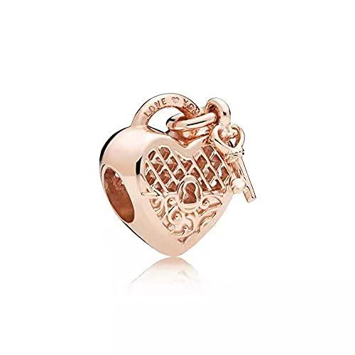 Mujeres Pandora Rose Gold Series Love Pulsera con Cuentas En Forma De Corazón Encanto Femenino Todo-Fósforo DIY Plata De Ley 925 Moda Chica Fabricación De Joyas D7