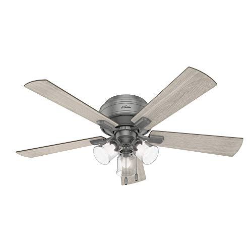 "Hunter Fan Company 51020 Crestfield Indoor Low Profile Ceiling Fan with LED Light and Pull Chain Control, 52"", Matte Silver"