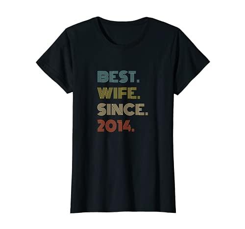Mujer 7º aniversario de boda regalo mejor esposa desde 2014 Camiseta