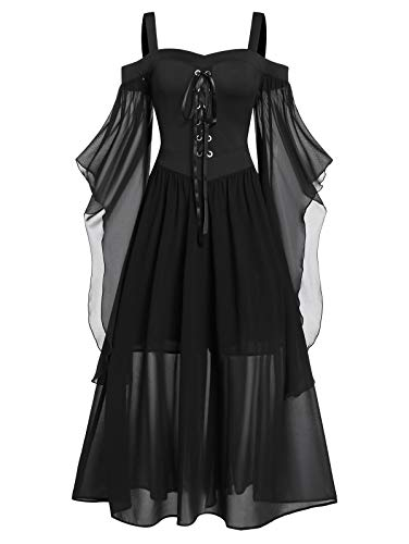CHARMMA Übergroßes Gothic Halloween-Kleid, Festlich A-Linie Schnürkleid mit Schmetterlingsärmeln, Kostüm mit Träger für Halloween Damen (Schwarz, 3XL)