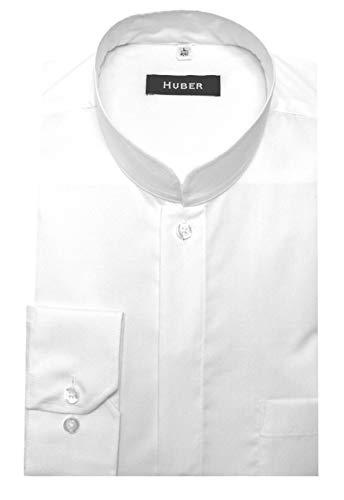 Huber Stehkragenhemd mit Asiakragen Weiss XL