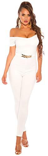 Firstclass Trendstore eleganter Overall mit Schnalle Gr. S-XL, Jumpsuit Hosenanzug Abendmode Damen (OV2013 weiß S 20200053)