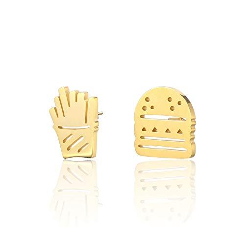 Daesar Ohrstecker Damen Vintage Pommes Frites Burger Form Ohrringe Gold
