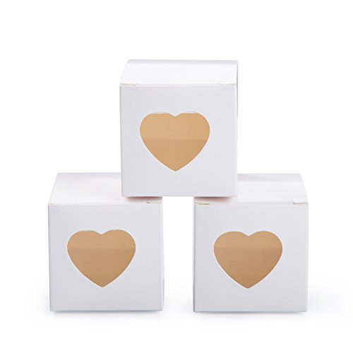 MOWO White Gift Boxes 2x2x2 inch with Clear Plastic Window for Candy Treat Gift Wrap Box Party Favor 50pc