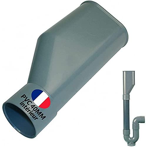 BYMEO Embudo de plástico, sifón doble para desagüe lavadora, conexión para mangueras de PVC 40...