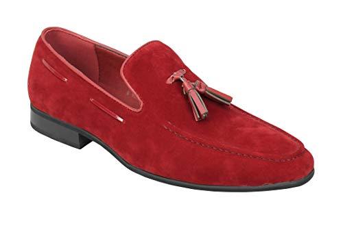Faux del Cuero del Ante de la Borla de Deslizamiento de los Holgazanes de conducción Inteligente de los nuevos Hombres de los Zapatos Tamaño 6 12 [A520-MAROON-40]