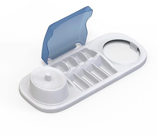 Custodia porta spazzolino elettrico per Oral b Braun con support per caricatore e coperchio per testine (contenitore base doppio con supporto per 4 copri testine centrale)