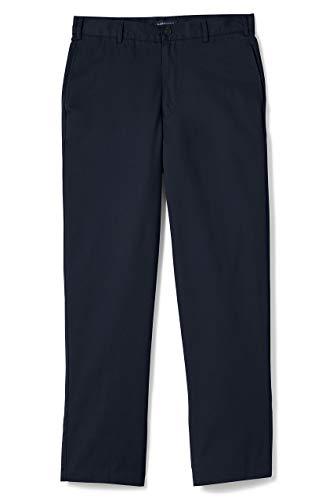 Lands' End School Uniform Men's Blend Plain Front Chino Pants 32 Classic Navy