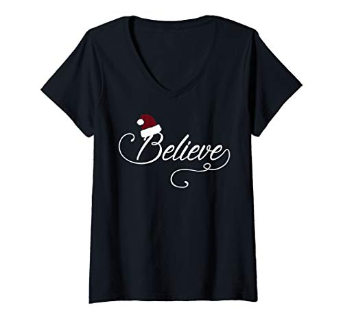 Womens Believe Cursive Wearing Santa Hat Christmas V-Neck T-Shirt