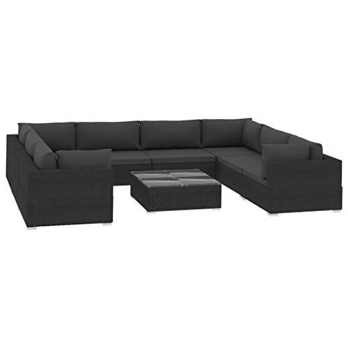 Festnight - Juego de 9 sofás de jardín con cojines, sofá esquinero de jardín exterior de ratán sintético, 4 sofás esquineros + 4 sofás centrales + 1 mesa de café, color negro
