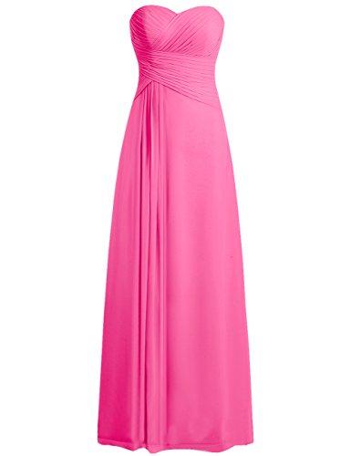 Ballkleider Damen Brautjungfernkleid Abendkleider Lang Partykleider Chiffon A Linie Dunkelrosa EUR44